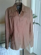 CALI CALI 100% Linen Chocolate Brown Blazer Full Zip Up Long Sleeves Size 14
