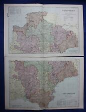 Original antique map x 2, NORTH & SOUTH DEVONSHIRE, RAILWAYS, G.W. Bacon, 1896