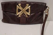 JOCASI Designer Women's Chocolate Brown Leather Gold Tone Wrist Strap Clutch Bag