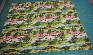 "Grandma Moses Checkerboard House Rare 19.5""x 22"" Recycle Fabric sewbuzyb"
