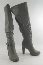 "brown/gray 4""high  Heel long sexy over knee boots All Man Made material  Size 8"