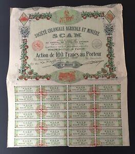 TITRE 100 FRANCS SOCIETE COLONIALE AGRICOLE ET MINIERE 1938 ( SCAM )