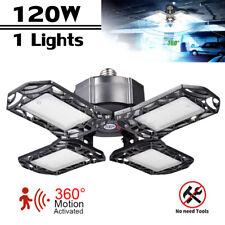 LED Garage Light Motion Sensor Deformable Workshop Ceiling Fixture Lamp 120W E27