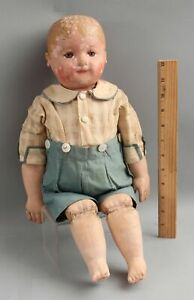 Antique 20in Stockinette Martha Chase Hand Painted Oil Cloth Doll NO RESERVE