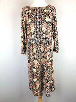 J Jill Printed Floral Black Knit Jersey Stretchy Pullover Dress Pockets Size S