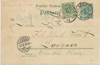 """DT.REICH """"CULMSEE"""" sehr selt. K1 5 Pf Reichspost GA-Postkarte Zusatzfrankatur'92"""