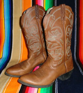 ARIAT Western Heritage Boots BROWN & BLUE Cowgirl Cowboy Leather Womens 6 B