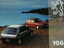 Peugeot 106 Brochure +Spec Sheets + colour Guide-inc 106 Rallye 1.3 & Mardi gras