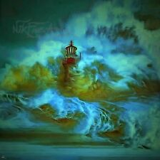 NIK TOD ORIGINAL PAINTING LARGE SIGNED ART NIKFINEARTS OCEAN WAVES ON LIGHTHOUSE