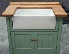 PAINTED RUSTIC STYLE BELFAST SINK KITCHEN UNIT COMPLETE WITH WORKTOP,TAPS