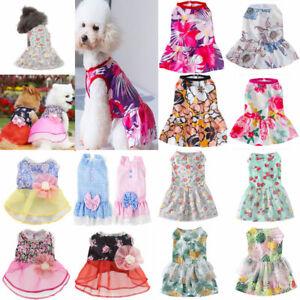 Pet Puppy Dog Floral Princess Vest Dress Skirt Small Dog Clothes T shirt Apparel