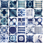 Indian Shibori Tie Dye Cushion Cover 16X16 Indigo Handmade Throw Pillow Case