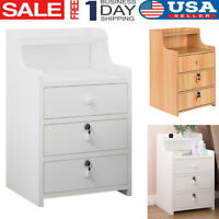 Bedroom Set of 2/1 Night Stand Bedside Table Furniture Storage Wood 2 Colour