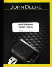New listing John Deere Models Ar-Ao Operator's Manual