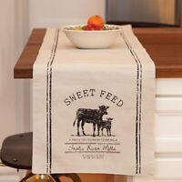 "Farmhouse SWEET FEED FARMHOUSE Table Runner COW Farm Primitive 36"" x 13"" COWS"