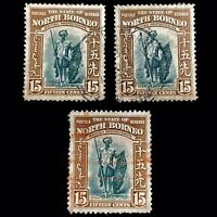 North Borneo 1939 3X 15c Brown/Green Dayak Crayon/Hand Stamp Cancel Stamps