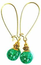 Very Long Gold Green Earrings Crackle Glass Bead Vintage Antique Gold Style
