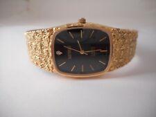 VTG MENS BENRUS Diamond Quartz Gold Tone Nugget Wrist Watch Black Dial 26mm