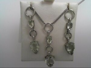 Genuine Sterling Silver Earrings and Necklace (Green Amethyst) Stones