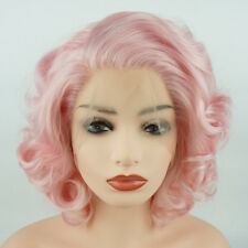 Meiyite Hair Wavy Short 10inch Pink Heavy Density Synthetic Lace Front Wig