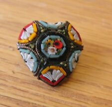 Heart Brooch Small Pin Valentine Vintage Edwardian Italy Micro Mosaic Brass