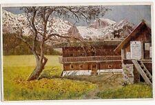 Künstlerkarte, Sofie Arnsburg, Berge u. Bauernhof, Wiener Volkskunst, ca. 1910