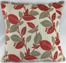 Red Leaf with Striped Reversible Design Evans Lichfield Cushion Cover