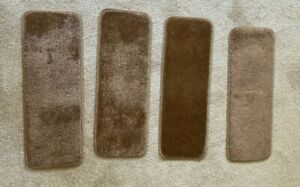"""Non Slip Carpet Step Runners 25 x 9 1/2"""" Brown Used - Set of 4"""