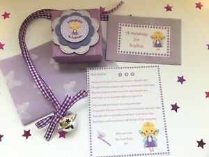 Personalised Tooth Fairy Letter, Fairy Bell, Gift Box, Tooth Fairy Gift, Purple