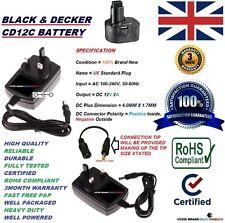 UK 12V AC/DC Netzteil Adapter Ladegerät für Black & Decker CD12C Akku Modell