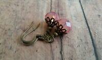 Czech glass beaded earrings, vintage style, blush pink, bronze, bronze