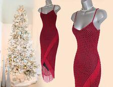 KAREN MILLEN RARE BLOOD RED VINTAGE CROCHET FRINGE WIGGLE BODYCON DRESS 3  12 UK