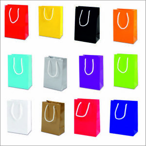10 x LUXURY GLOSS PARTY BAGS PAPER BOUTIQUE BAG GIFT BAGS ROPE HANDLES 15x22x8CM