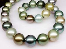 "HUGE18""12-14MM NATURAL SOUTH SEA GENUINE PEACOCK MULTICOLOR ROUND PEARL NECKLACE"