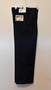 Haggar Pants 34x29 Actual L 28 Navy Blue Comfort Pleated Front 100% Cotton NEW