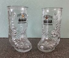 New listing Lot of 2 Glass Boot Mugs from Fort Worth Stockyards 16oz