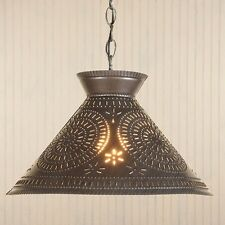 primitive handcrafted kettle black punched tin shade ceiling light /nice