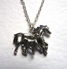 Equestrian Mother & Foal Baby Horse Silver Plated Necklace New in Gift Bag