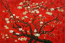 "ALMOND_BLOSSOM. Red. VAN_GOGH. 20""x 28"" ART Reproduction CANVAS_PRINT"