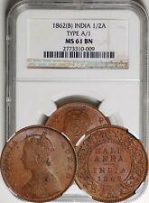 British India 1862-B 1/2 Half Anna Type A/1 NGC MS-61 BN