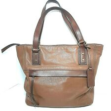 Fossil Women's Soft Textured Leather Tote Shoulder Bag 2 Tone Brown Purse