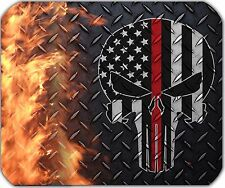 Punisher Thin Red Line Mouse Pad - American Flag - Firemen - Diamond Plate