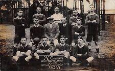POSTCARD    MILITARY  FOOTBALL  A Company  2nd Bt The Welsh Reg Winners  1913-14