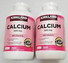 2 Pack Kirkland Signature Calcium 600 mg + D3 500 Count Each Bottle