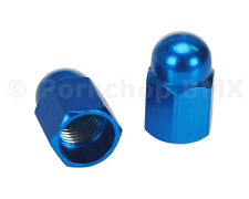 Aluminum alloy BMX bicycle acorn Schrader valve caps - BLUE ANODIZED