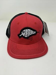 Rapala Fishing Tackle Adjustable Hat Embroidered Red Truckers Cap Snap Back