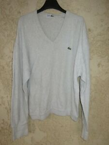 Pull col en V LACOSTE Devanlay gris clair coton made in France taille 4