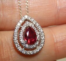 "Beautiful Pear Shape Sterling Silver Ruby &  Diamond Cluster Pendant & 18"" Chain"