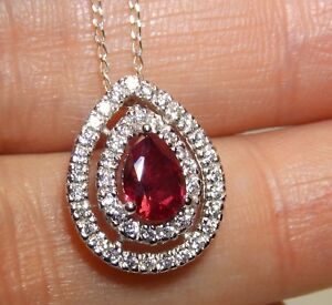"""Silver Ruby Pendant Diamond Cluster Pear Shape 925 Sterling Silver 18"""" Chain"""