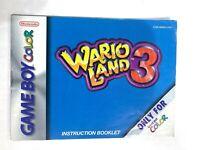 Wario Land 3 Original Nintendo Gameboy Color Instruction Manual Booklet Book